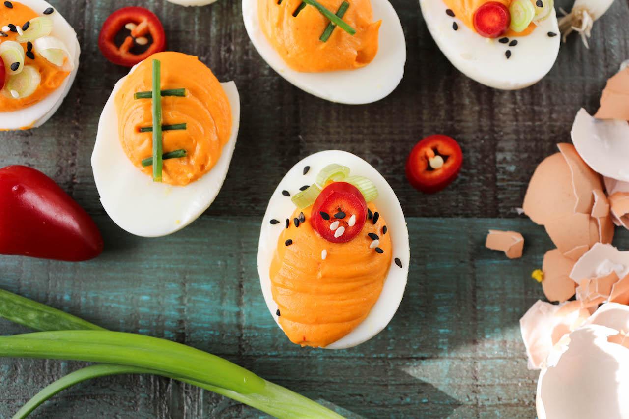 PaleOMG Game Day Sriracha Deviled Eggs