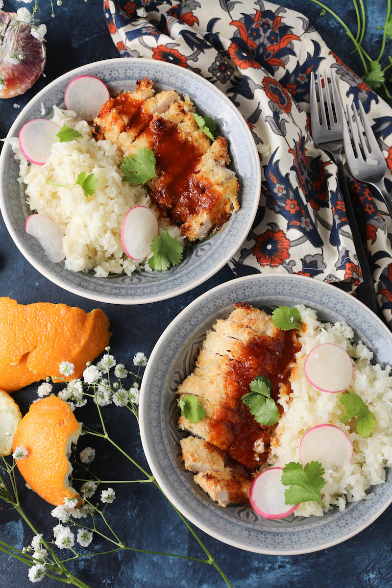 PaleOMG Sticky & Crispy Orange Sriracha Chicken Bowls