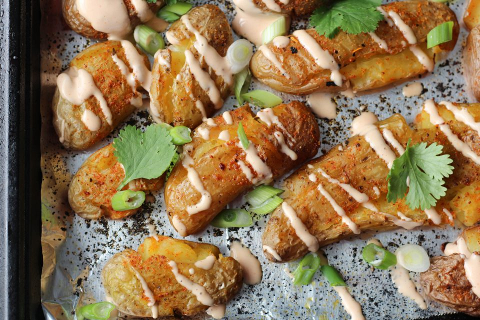 Crispy Taco Spiced Fingerling Potatoes with Hot Sauce Aioli