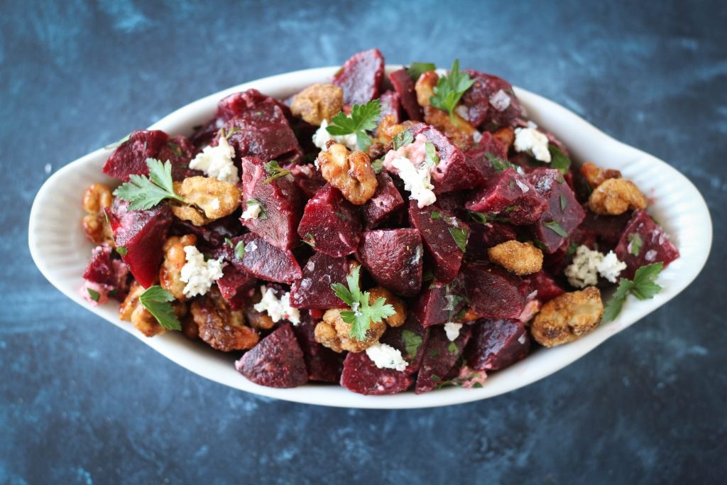 PaleOMG Creamy Beet Salad with Candied Walnuts
