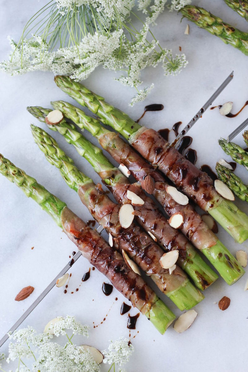 PaleOMG Grilled Prosciutto Wrapped Asparagus Skewers