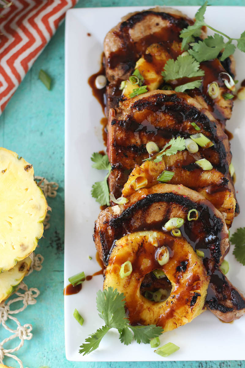 PaleOMG Grilled Sweet & Spicy Pineapple Pork Chops