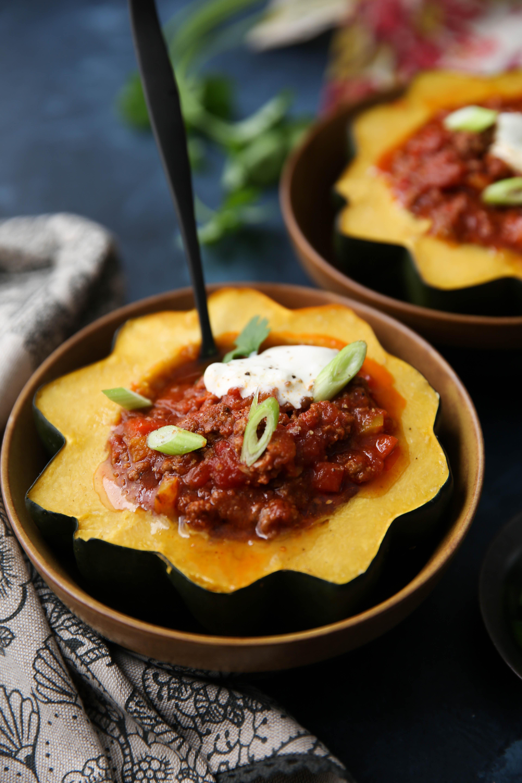PaleOMG Instant Pot Easy Chili Acorn Squash Bowls