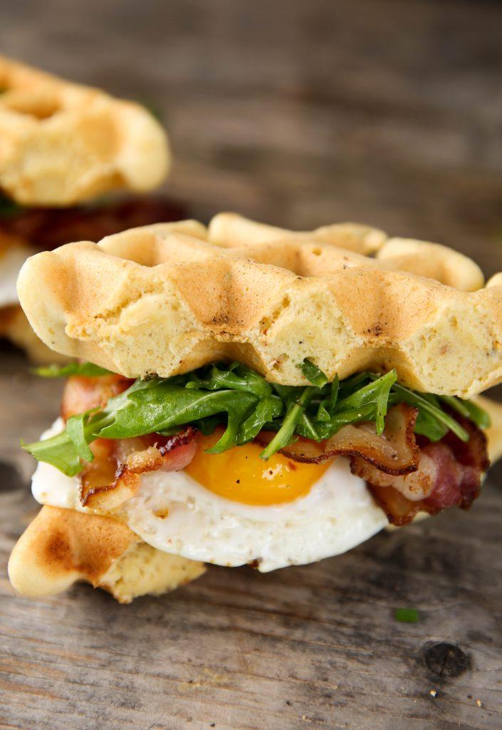 PaleOMG Bacon & Egg Breakfast Waffle Sandwiches
