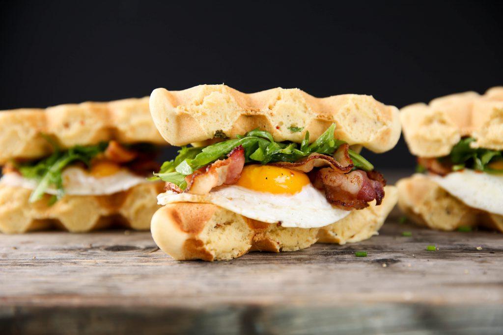 PaleOMG Bacon & Egg Waffle Sandwiches