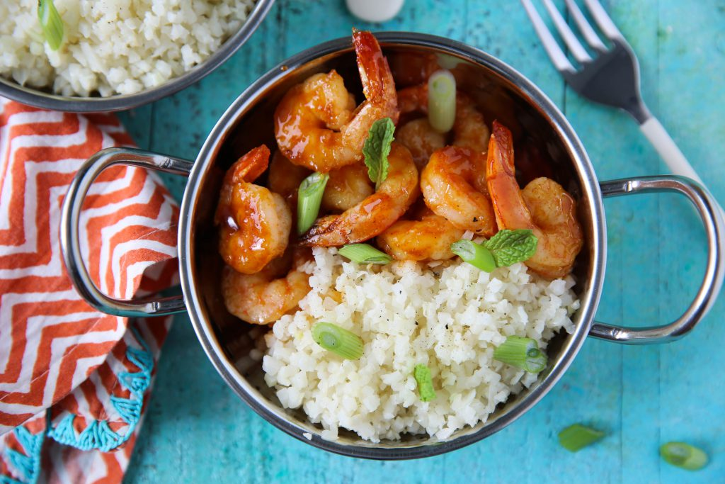 PaleOMG 15 Minute Honey Sriracha Shrimp Rice Bowls