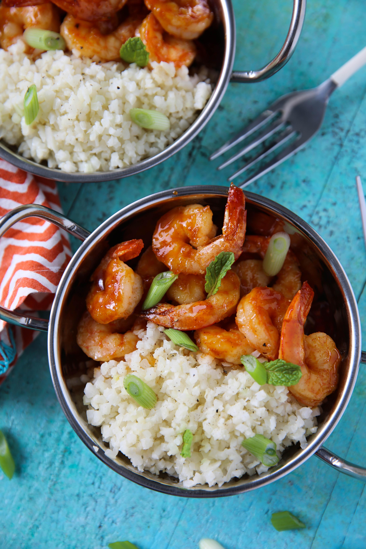 PaleOMG 15 Minute Honey Sriracha Shrimp Rice Bowls