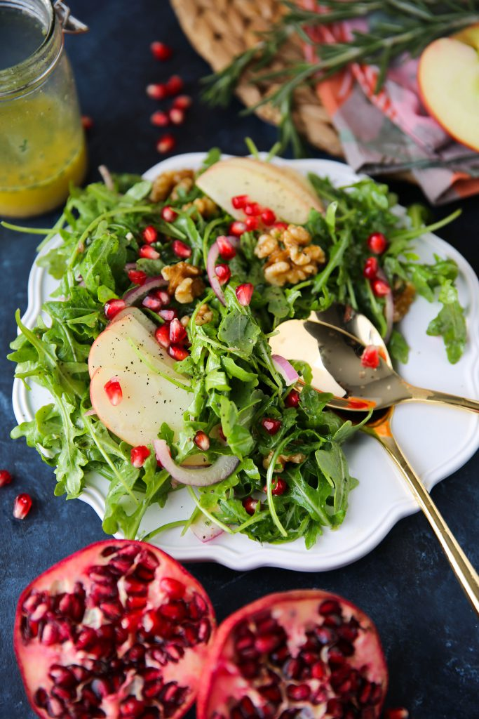 PaleOMG Apple Arugula Walnut Salad w/ Rosemary Vinaigrette