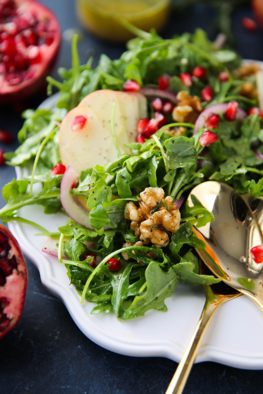 PaleOMG Apple Arugula Walnut Salad w/ Rosemary Vinaigrette