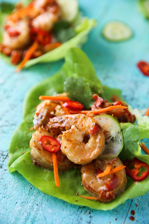 PaleOMG Pad Thai Shrimp Lettuce Cups
