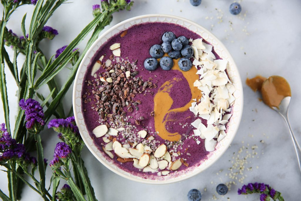 PaleOMG Blueberry Protein Smoothie Bowl