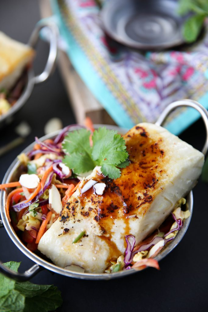 PaleOMG Easy Halibut Over Asian Slaw