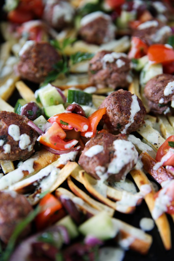 PaleOMG Gyro Meatball Loaded Fries w/ Tzatziki Sauce