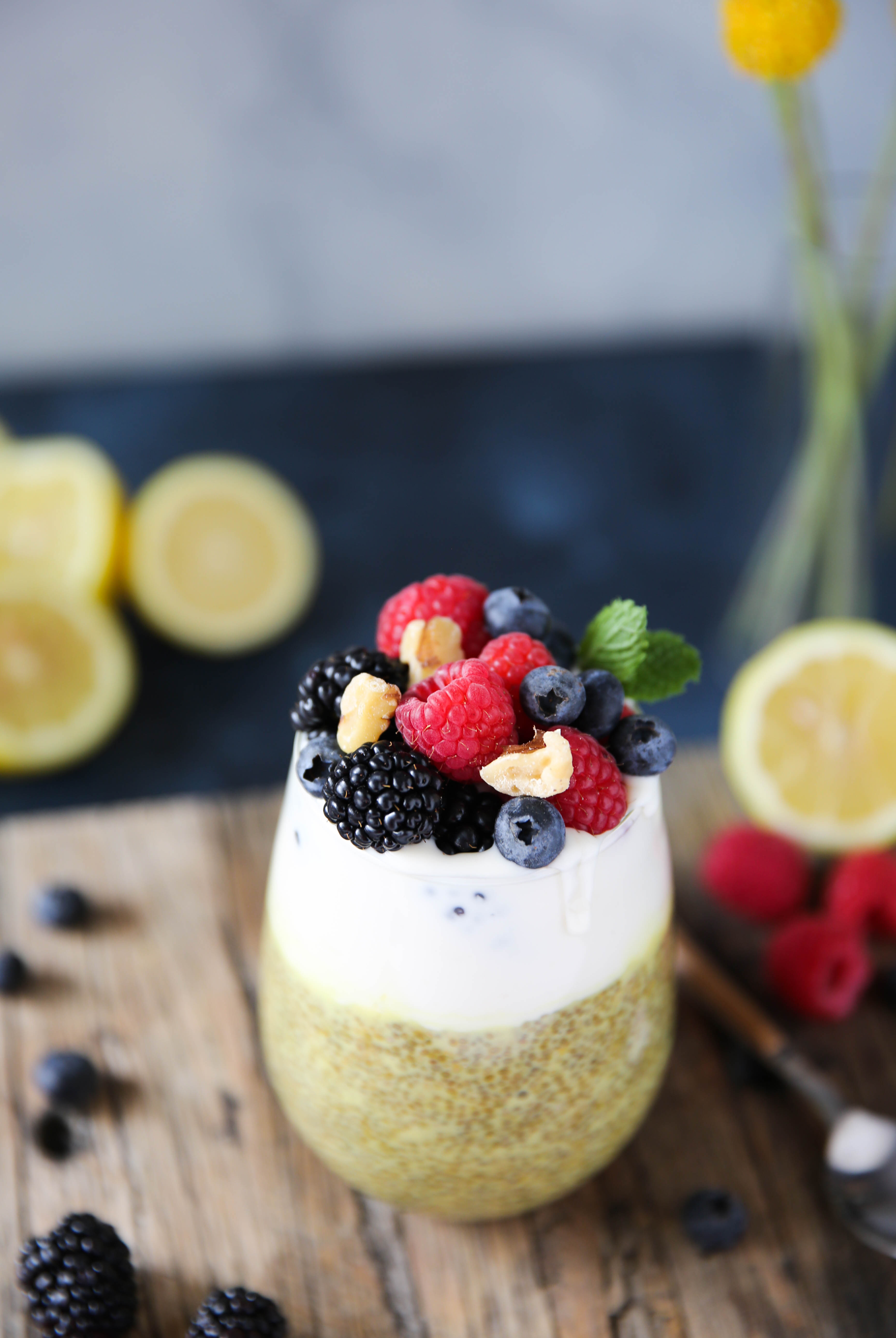PaleOMG Lemon Berry Chia Pudding Parfaits