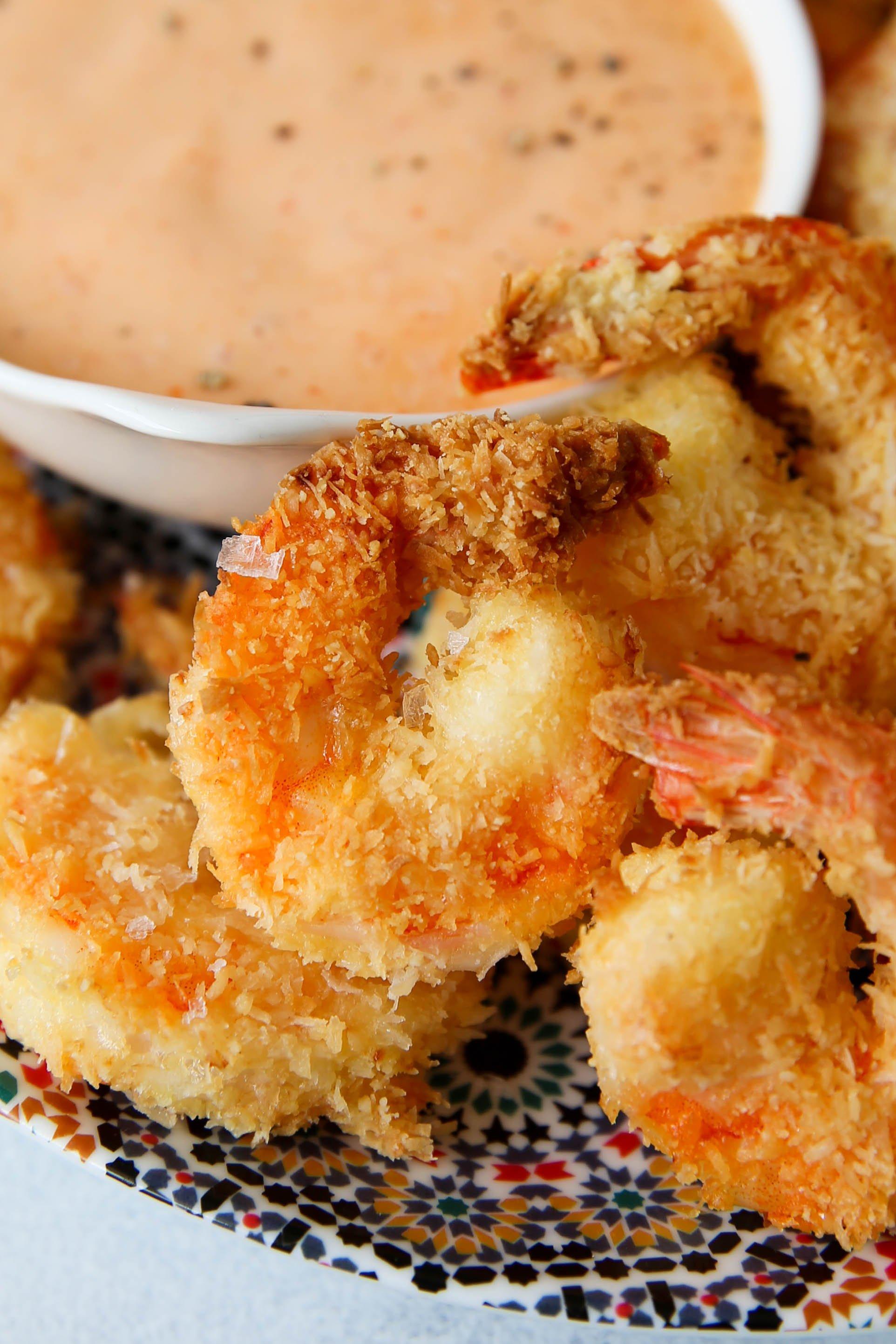 PaleOMG Air Fryer Coconut Shrimp with Sriracha Dipping Sauce