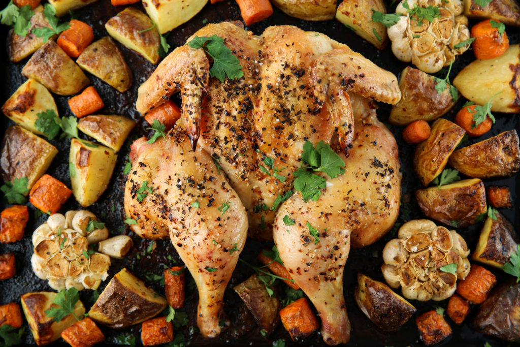 PaleOMG Easy Sheet Pan Spatchcock Chicken Dinner