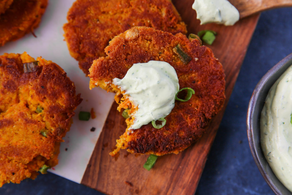 PaleOMG Carrot Fritters with Avocado Cream Sauce