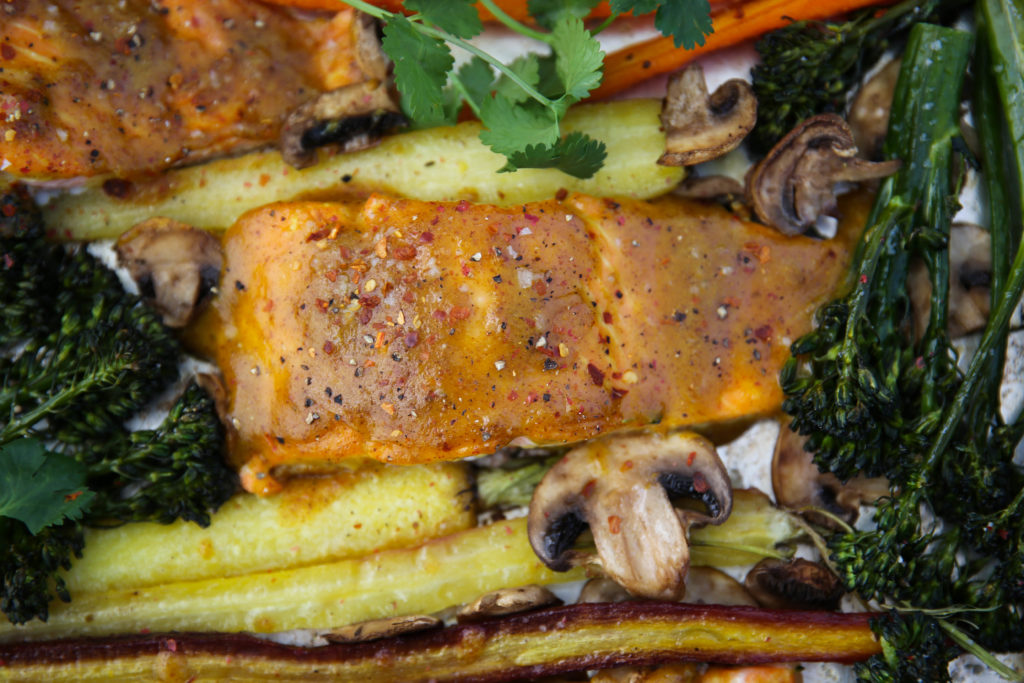 PaleOMG Easy Sheet Pan Maple Mustard Salmon & Veggies