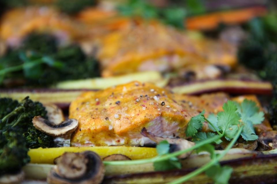 1edbe52be294 Easy Sheet Pan Maple Mustard Salmon   Veggies - PaleOMG.com