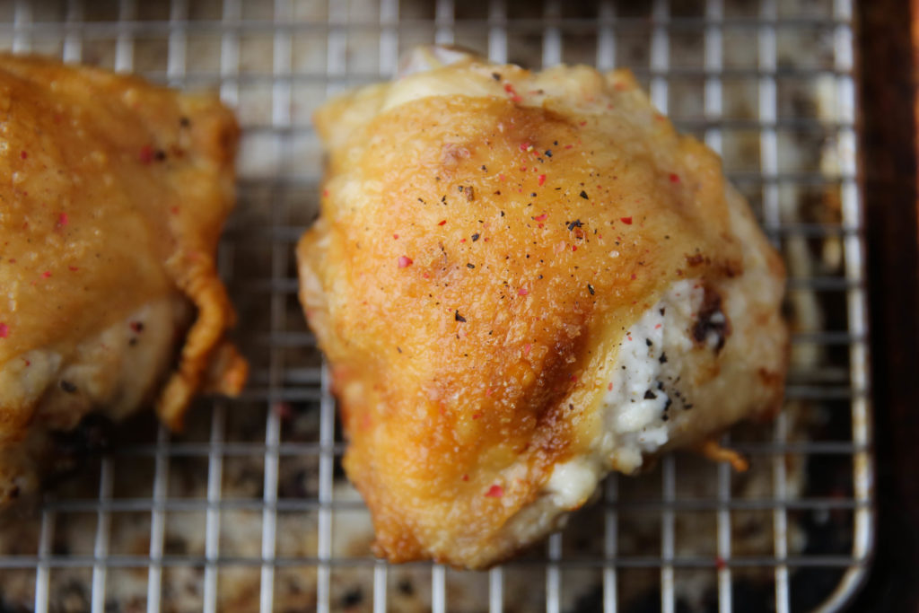PaleOMG Crispy Garlic Stuffed Chicken Thighs