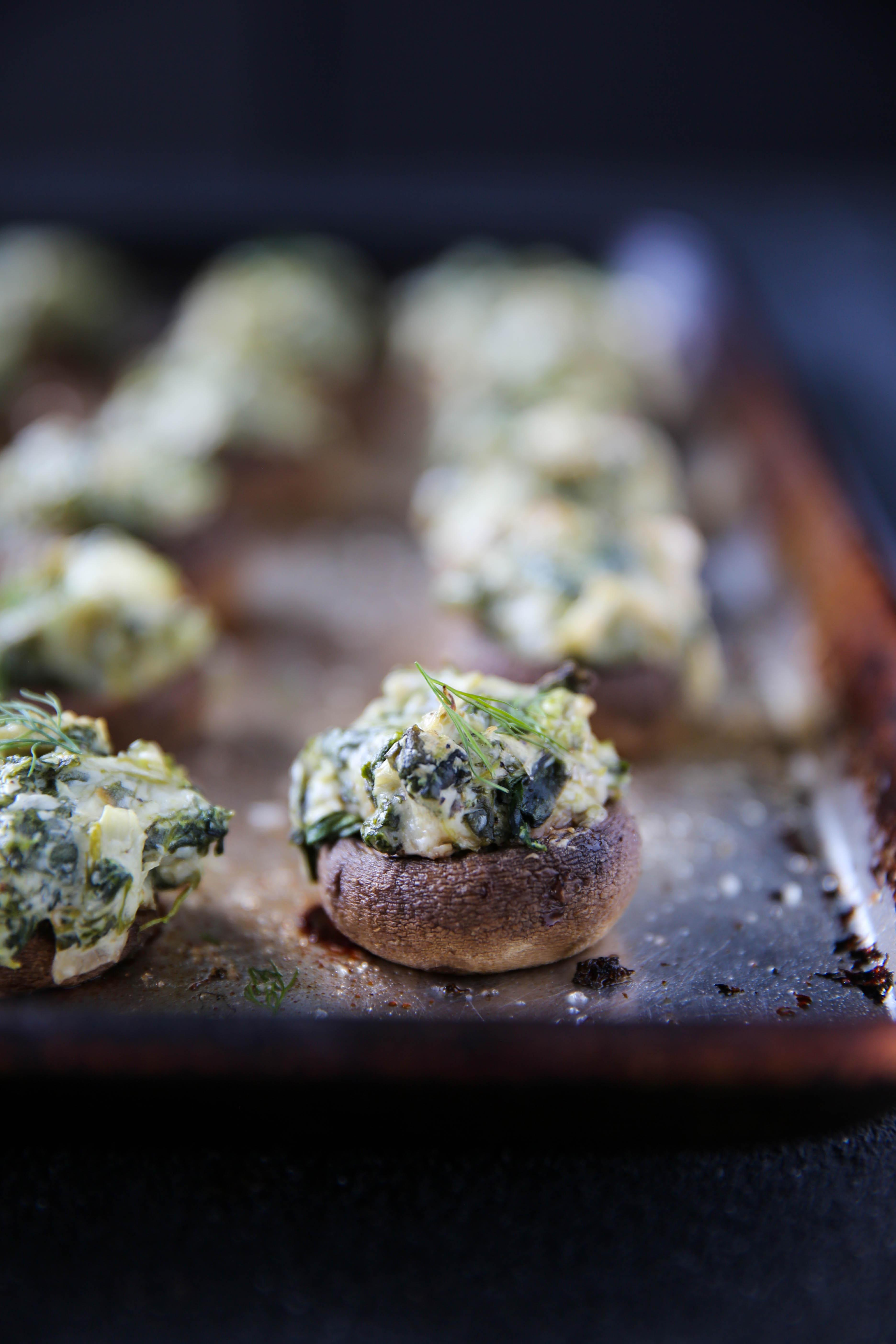PaleOMG Spinach & Artichoke Stuffed Mushrooms