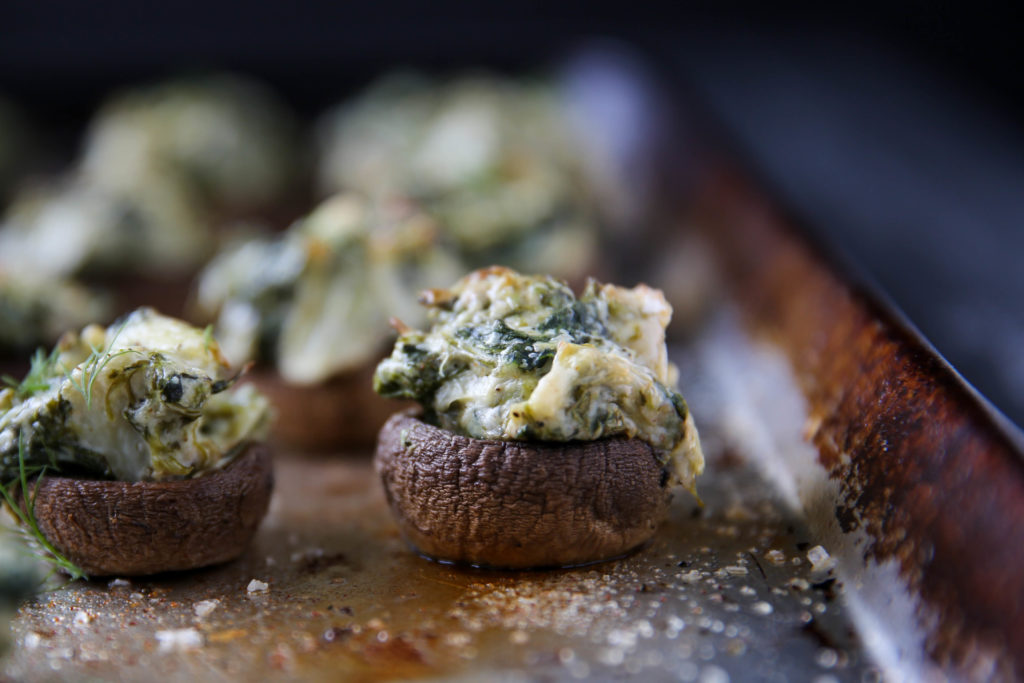PaleOMG Spinach & Artichoke Stuffed Mushrooms