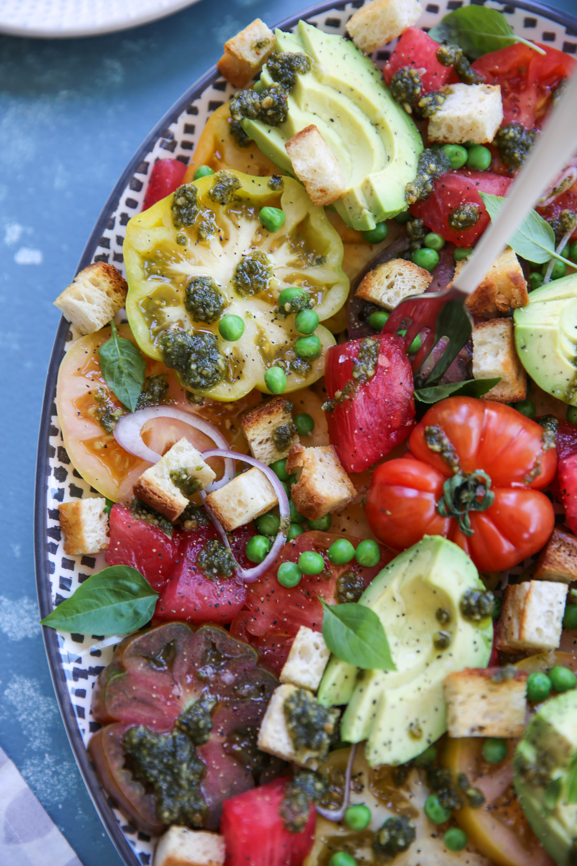 PaleOMG Heirloom Tomato & Watermelon Panzanella Salad