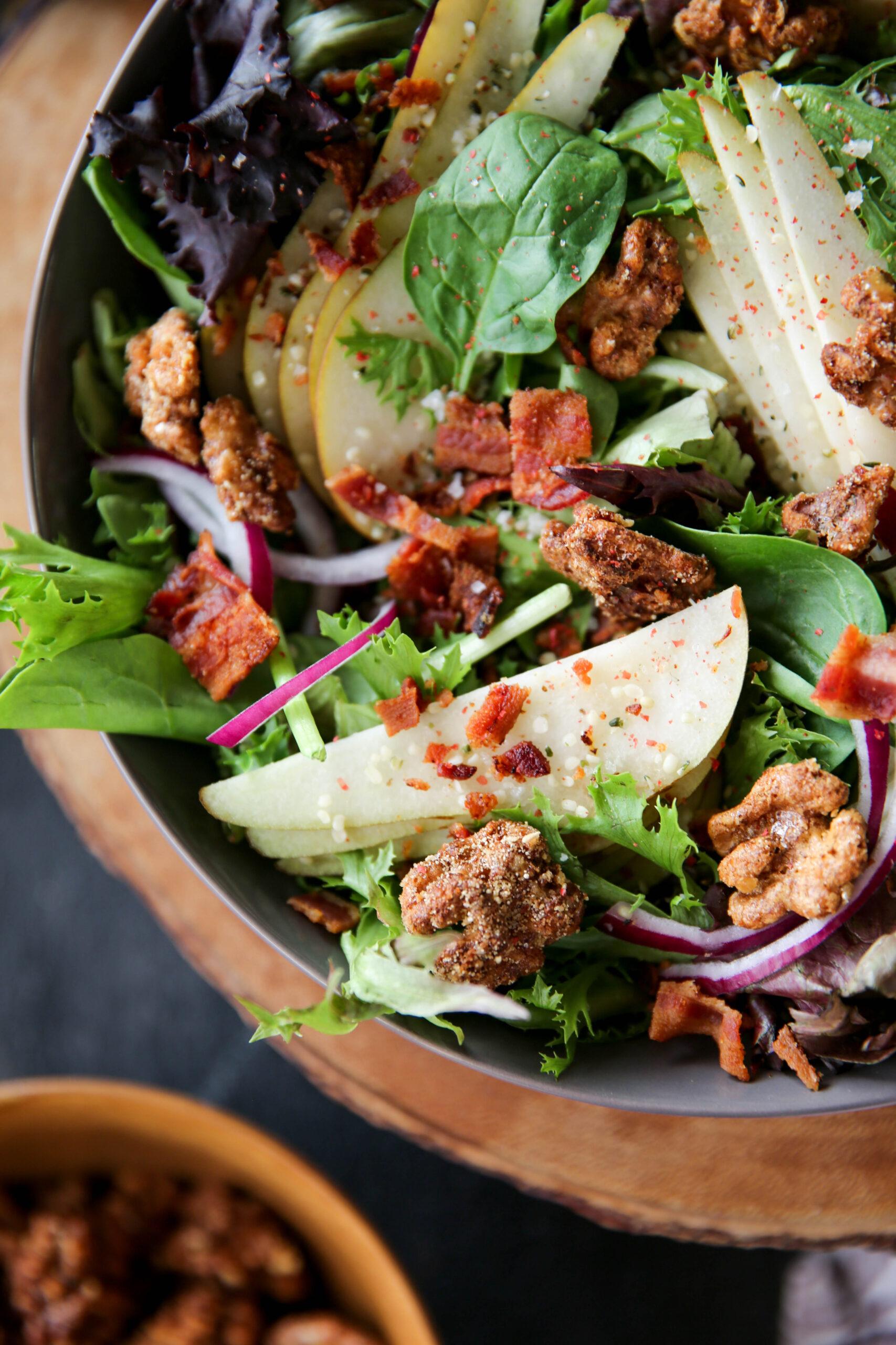 PaleOMG Candied Walnut Pear Salad