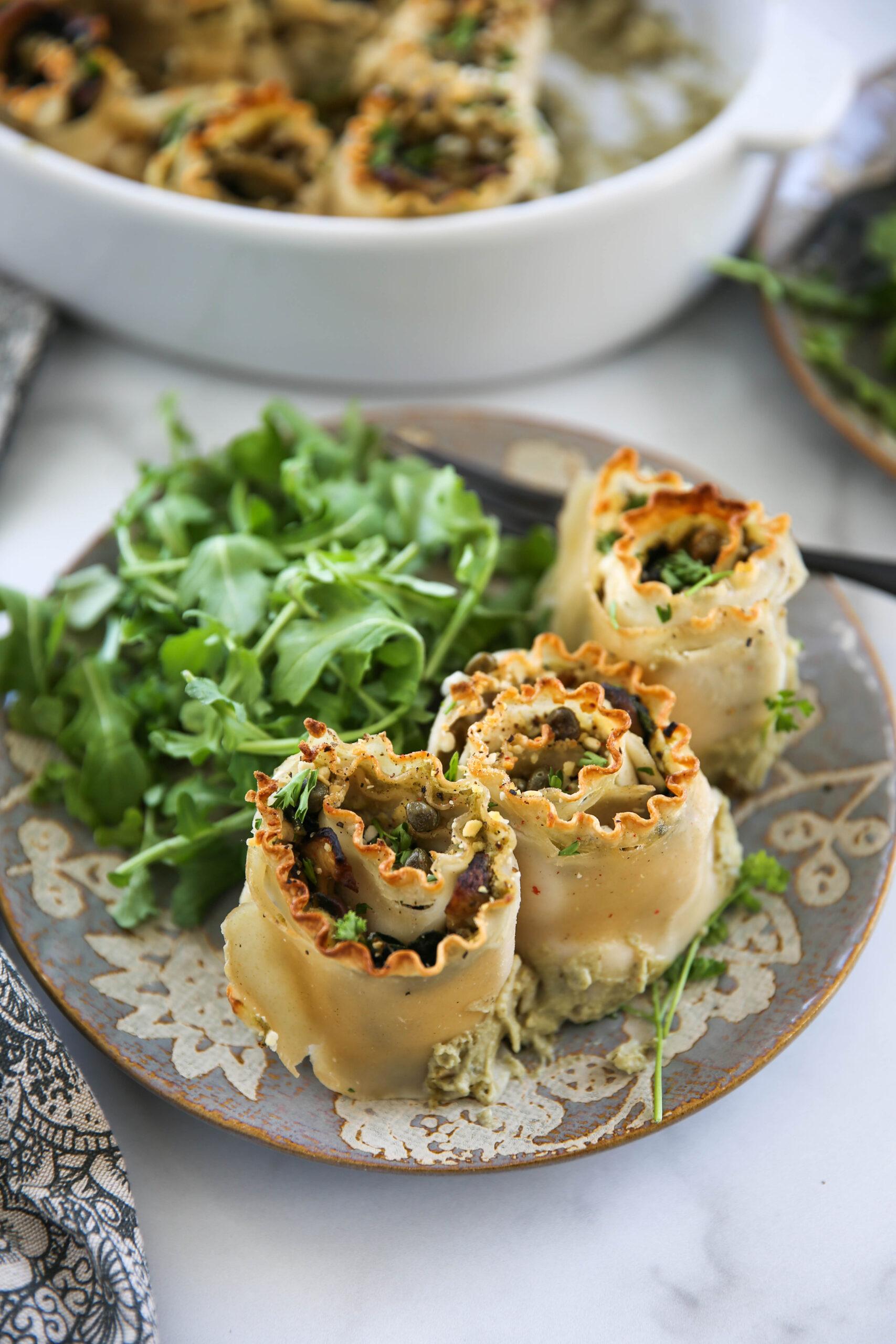 PaleOMG Alfredo Mushroom & Spinach Lasagna Roll Ups