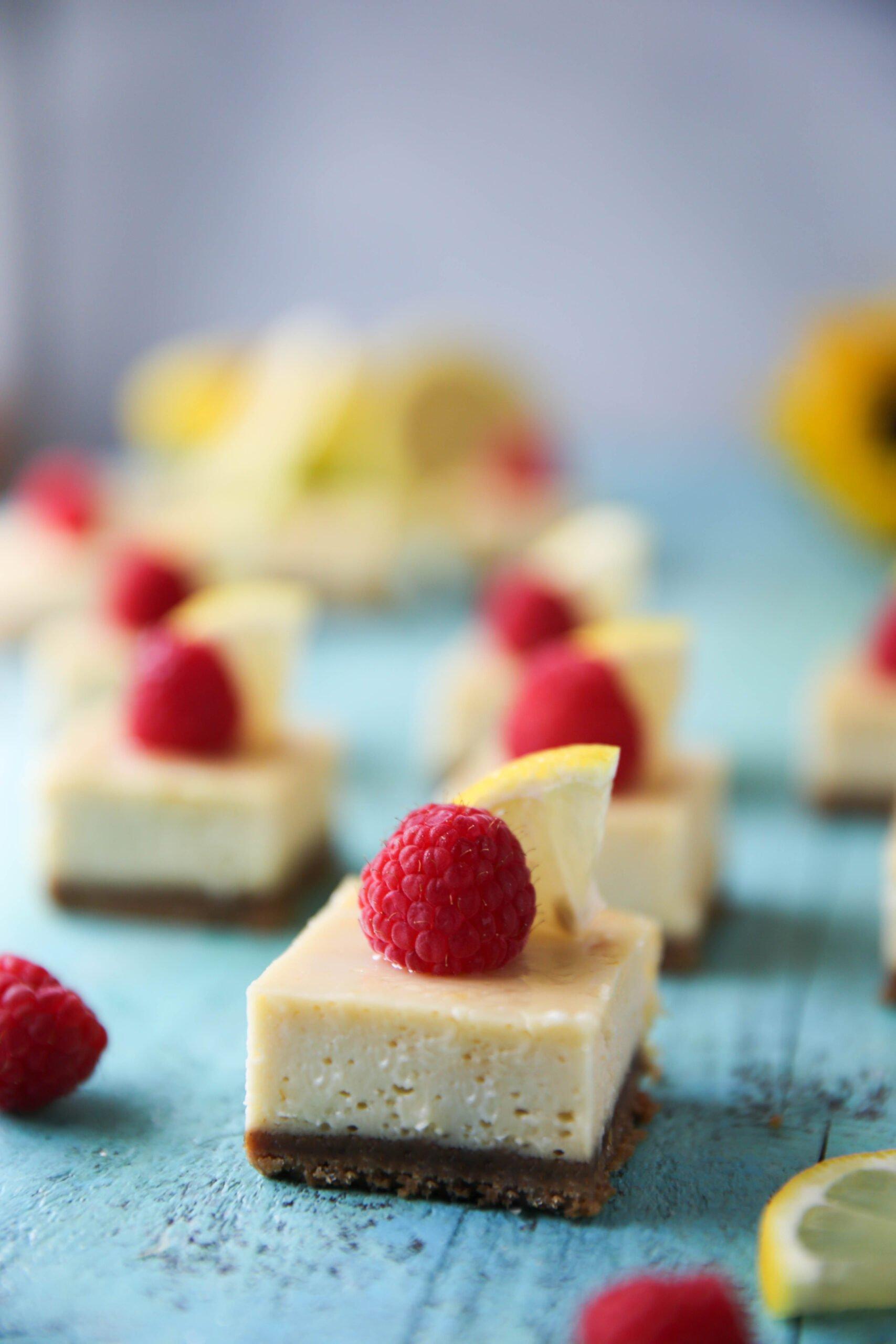 PaleOMG Lemon Raspberry Cheesecake Bars